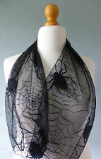 Black goth style scarf, headban spiders and webs, black lace Halloween scarf