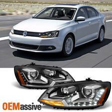 2011 2012 2013 14 15 2016 Jetta Sedan Halogen LED DRL Projector Black Headlights