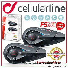 2 COPPIA INTERFONO CELLULAR LINE MODELLO F5 MC BLUETOOTH UNIVERSAL WATERPROOF