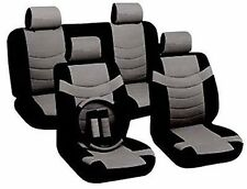 Car Seat Covers Sporty Accent Black Gray PU Leather Steering Wheel Set CS4