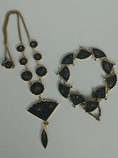 Vintage Japanese Damascene fan necklace and bracelet K24 gold overlay