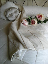 Beautiful Huge Kg/Db Linen Quilt Coverlet /Bedspread /Throw~Fab Interior Decor