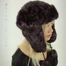 MUDD New! PURPLE BLACK Faux FUR TRAPPER HAT Animal Print BOMBER Aviator ONE SIZE