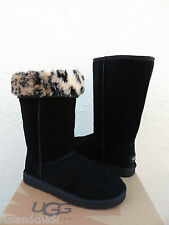 UGG BLACK CLASSIC TALL ANIMAL SUEDE/ SHEEPSKIN BOOTS,  US 6/ EUR 37 ~ NIB