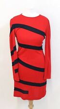 MOSCHINO CHEAP & CHIC Ladies Red & Navy Blue Striped Long Sleeve Dress UK10