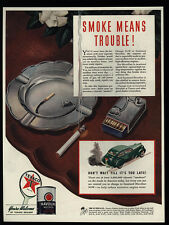 1941 TEXACO & Halvoline Motor Oil - Smoke Means Trouble - Cigarette - VINTAGE AD