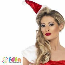 MINI MISS SANTA VELOUR HAT ON HEADBAND MRS CLAUS HAT - ladies womens fancy dress