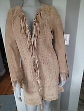 NEWPORT NEWS Suede Stitch Leather Fringe Jacket Light Tan Women M Jacket Coat 1