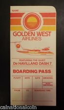Golden West Airlines Vintage Unused Boarding Pass 1982
