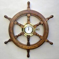"24"" SHIP WHEEL WOODEN BRASS PORTHOLE CLOCK  ~ PIRATE / NAUTICAL DECOR ~ MARITIME"