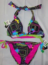 HURLEY Womens Jrs Large 2 Piece Bikini Waikiki Removable Cups Swimsuit  NEW NWT