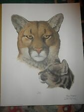 RAY HARM COUGAR WITH CUB-BUY 3 PRINTS AT LEAST 1 $65.00 THEN GET 1 PRINT FREE