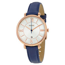 Fossil Jacqueline Silver Dial Navy Leather Quartz Ladies Watch ES3843