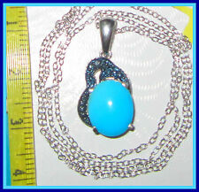 Sleeping Beauty Turquoise 3.26 cts Diamond Necklace Pendant Sterling Silver 925