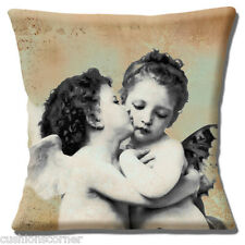 "Vintage Retro 'Two Cherubs Cuddle' Mottled Background 16"" Pillow Cushion Cover"