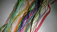 10 NEW ORGANZA RIBBON & CORD NECKLACES Mixed Colours All Different