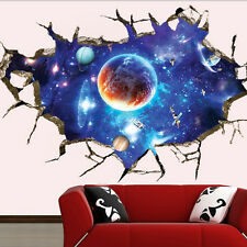 3D FULL COLOUR SPACE WORLD UNIVERSE GALAXY PLANET CRACKED WALL ART STICKER DECAL