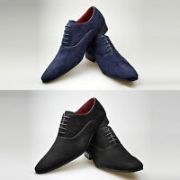 Mens New Navy Black Brown Suede Leather Smart Formal Lace Up Shoes 6 7 8 9 10 11