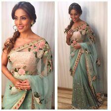 Indian Party Wear Sari Sky Blue Saree Bollywood Bridal Wedding Pakistani Saree