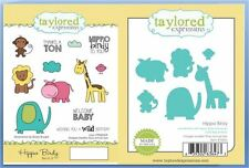 Taylored Expressions Stamp/Die Combo Set HIPPO BIRDY Birthday,Baby ~TEMD09/TE802