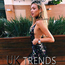 UK Womens Sequin Plunge Halter Cross Back Bodycon Ladies Mini Christmas Dress