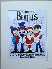 The Beatles - Christmas Carol Singers - Hand Drawn & Hand Painted Cel