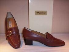 Scarpe classiche mocassini Napoleoni donna casual tacchi pelle cuoio marroni 40