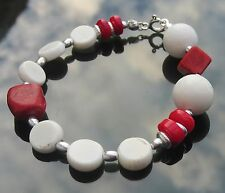 925 Silver Beads Red and White Natural Coral Beads Disc 925 Silver Bracelet