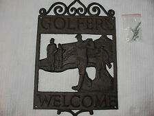 "Vintage Look CAST IRON GOLF Sign.""WELCOME GOLFERS"" Yard, Man Cave,Course,Plaque"