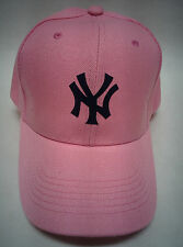 New York Yankees Heat Applied Applique Logo on a PINK cap hat! Adjustable!