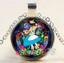 Alice in Wonderland Stained Cabochon silver Glass Chain Pendant Necklace&XP-2655