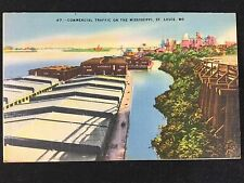 Vintage Mississippi Commercial Barge Traffic at St. Louis, MO postcard unposted