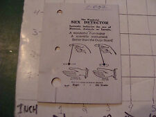 vintage ADAM'S circa 1950's trick ---card only---: SEX DETECTOR purchased 1952