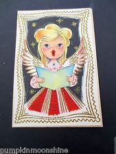 # J191- Unused Mid Century Christmas Greeting Card Glittered Angel Singing