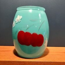 Vintage Bartlett Collins Gay Fad Turquoise Blue Fruit Cookie Jar Glass No Lid