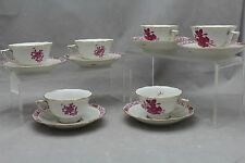 SET 6 HEREND RASBERRY CHINESE BOUQUET DEMI TASSE