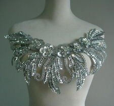 HP52 Floral Shell Sequin Beaded Applique Collar Hipbelt Motif Sew On Silver