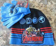 NEW Marvel Avengers Striped Beanie Kid's Hat with Matching Gloves- One Size- NWT
