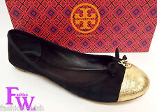 TORY BURCH Size 8 'Chelsea' Black Gold Soho Lux Ballet Flats Shoes w/ box