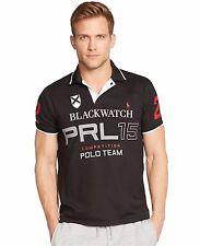 NWT Ralph Lauren Men Black Watch Custom Fit Pieced Polo Shirt L
