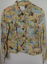 WOMENS LONG SLEEVE BUTTON UP JACKET- PETITE SMALL-CHRISTOPHER&BANKS-nature scene