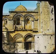COLOUR Glass Magic Lantern Slide TEMPLE MOUNT JERUSALEM C1890 ISRAEL