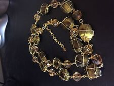 JOAN RIVERS WIRE WRAPPED GOLDEN COLOR BEADS NECKLACE