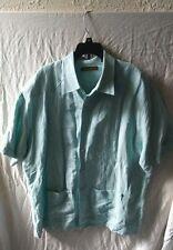 Men's CUBAVERA Short Sleeve Blue Linen Blend Embroidered Camp Shirt Size XL