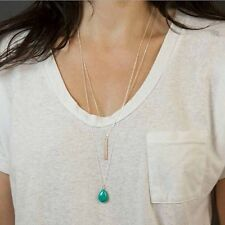 Ladies Double Layers Silver Green Waterdrop Long Bar Pendant Tiny Necklace