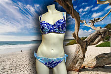 NWT GOTTEX Blue EMPIRE BUTTERFLY Bikini Swimsuit Set E CUP size - 10