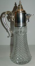 Antique Crystal Jug / Pitcher / Decanter / Ewer w/ Chrome ? Plated Metal Top