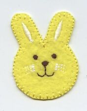 Iron On Embroidered Applique Patch Peep Yellow Easter Bunny Face Rabbit 692711