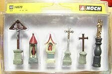 HO scale Noch CEMETERY GRAVEYARD MARKERS / ROAD SIDE SHRINES 14870