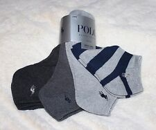 4 Pack Ralph Lauren Polo Mens 10-13 L Striped Solid No Show Socks Ankle Ped Gray